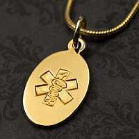 14k Gold Medical Pendant 3/8 x 5/8 inch