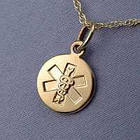 14k Yellow Gold Medical Pendant
