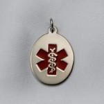 14k White Oval Gold Medical Pendant
